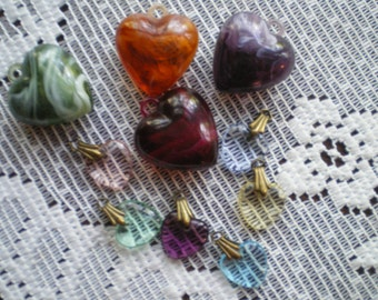 Destash Lot of 10 Salvaged Acrylic Hearts Jewelry Making, Crafts