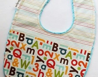 Letters and Numbers Baby Bib - Alphabet with School Paper on Saltwater Blue Minky