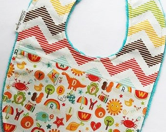 Cute Alphabet Baby Bib - School Days with Multi-Chevron on Teal Minky