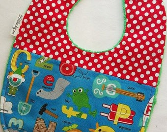 Fun Alphabet Baby Bib - Alphabet with Red and White Polkadots on Green Minky
