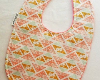 Baby Bib - Coral, Aqua, and Gold Triangles on Coral Minky