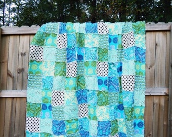 Quilt, king queen full twin, Rag Quilt, YOU CHOOSE SIZE, Joie de Vivre fabrics, Blue green and brown, comfy cozy handmade bedding, sham