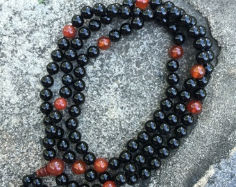 Obsidian 108 Bead Mala Necklace