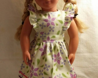 Green dress with purple flowers for 18 inch doll