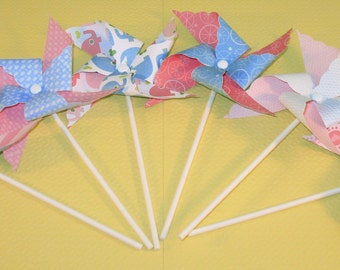 NEW - Blue & Pink Baby Shower Pinwheel Collection  (Qty 12)  Pinwheels, Decorative Pinwheels, Pinwheel Center Pieces, Table Top Party Props