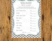 10% OFF INSTANT UPLOAD  Baby Shower Game The Price Is Right Chevron Blue & Gray - Print Your Own