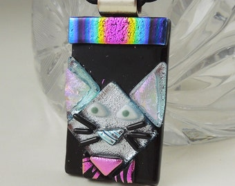 Black Cat - Cat Pendant -Dichroic Fused Glass Jewelry - Kitty Necklace - Cat Jewelry - Feline - Halloween Jewelry 3658