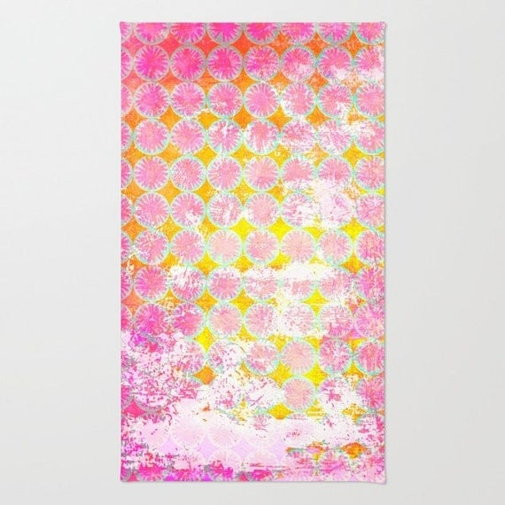 Pink And Yellow Rug Living Room Rug Stenciled Abstract
