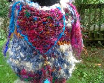 rustic handknit gypsy shoulder bag - anastasia wanders in a patchouli dream