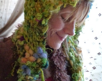 hand knit hat wool art yarn fantasy hood - forest moss garden dream bonnet