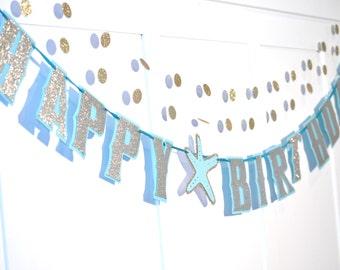 Starfish Birthday Party Banner, Beach Birthday Party Banner, Ocean Themed Birthday, Beach Themed Party, Beach Party Banner, HAPPY BIRTHDAY