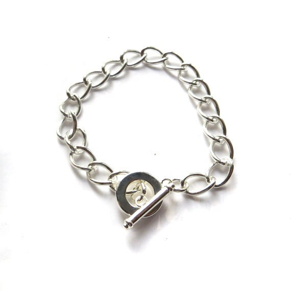 chunky charm bracelet chain silver plated large link