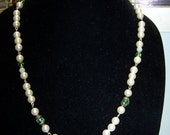 CLOSING SALE Glass Pearl with Green Crystal Necklace