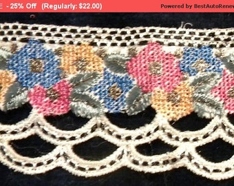 Surprise SALE - Vintage Metallic Lace Trim Petitepoint French