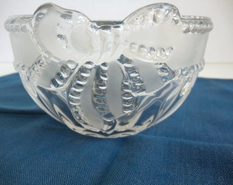 Etched Glass Candy Dish with Ribbon and Bow Design