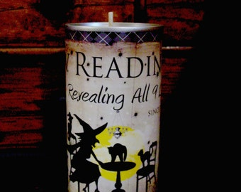 Scented Beeswax Candle, Primitive Halloween Candle, Primitive Halloween Decor, Paw Readings, Candle, Halloween Witch, Grubby Can Candle