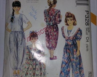 McCall's P328 Girl's Jumpsuits with and without collars - Size CH (7,8,10)