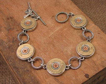Bullet Jewelry - Shotgun Casing Jewelry - Bullet Bracelet - 28 Gauge 5-Shell Shotgun Casing Bracelet - Great for Layering - Gun Jewelry