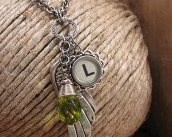 "Typewriter Key Jewelry - AUGUST Birthday - Angel Wing/Memories Necklace - White Initial ""L"" Typewriter Key, Peridot Crystal"