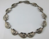 Reserved for Ruth - Repousse Necklace, Sterling Silver, Mexico Silver, Art Deco, Swirl Shape Pattern, TM-80, Mexican Silver Jewelry, 19.5 IN