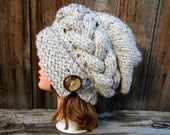 Oatmeal Cloche - Slouchy Hat With Button - Cable Knit Hat - Flapper Hat - 1920s cloche hat - Women's chunky hat