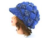 Unisex Newsboy Cap - Sea Mist Mix Periwinkle Hat With Brim - Brimmed Beanie - Entrelac Cap - Visor Hat - Chunky Beanie - Knit Accessories
