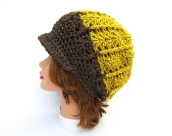 Crochet Newsboy Hat - Brown Green White Cap - Women's Hat - Wool Blend Hat - Brimmed Beanie - Crochet Accessories