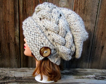 Oatmeal Cloche - MADE TO ORDER - Slouchy Hat With Button - Cable Knit Hat - Flapper Hat - 1920s cloche hat - Chunky Knit Hat Women