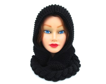 Black Hooded Cowl - Cable Knit Hood - Cotton Blend Hat - Cowl Hood - Women's Headwear - Knit Accessories
