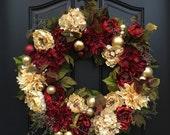Wreath, Christmas Wreath, Wreaths, Wreath, Red and Cream Wreath, Hydrangea Holiday Wreath, Red Peony Wreath, Red Christmas Wreath