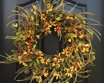 Fall Wreaths, Autumn Bouquet, Autumn Harvest Wreath, Fall Colors, Golden Autumn Bouquet, Fall Door Wreaths, Fall Flowers, Fall Wild Flowers