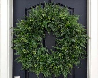 Boxwood Wreath, Fern Wreath, Boxwood and Fern, Wreaths, Fern and Boxwood, Faux Fern Wreath, Faux Boxwood Wreath, Year Round Wreath