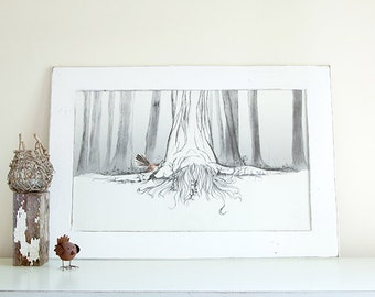 Grounded Forest Tree Lady Giclee Art Print Limited Edition