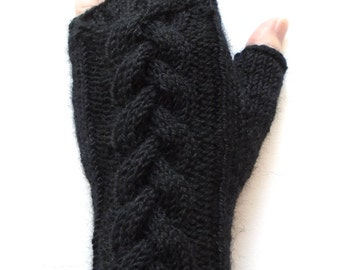 Black Gloves for Women and Teen Girls, Handknit Fingerless Gloves, Ladies Texting Gloves, cable pattern, knitted gloves, alpaca and wool