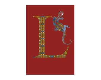 L is for Lizard Alphabet Art Print // Nursery Art School Classroom Education Baby Shower Gift // 13x19, 8.5x11 or 5x7