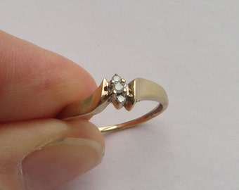 Vintage Diamond Ring in solid 10K Y Gold, size 7.25, 3 diamonds in glossy bypass setting, free US first class shipping