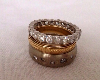 Perfect Modern Stacker, 14k White Gold and Diamond Ring