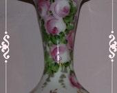 vintage Fenton Glass Vase  Charleton hand painted pink roses and ribbon  1940's