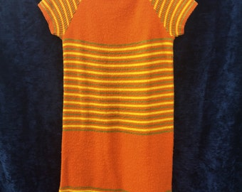 1970's Orange Stripe Knit Dress