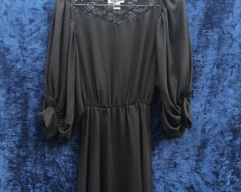 1980's Black Party Dress w/ Lace Yoke