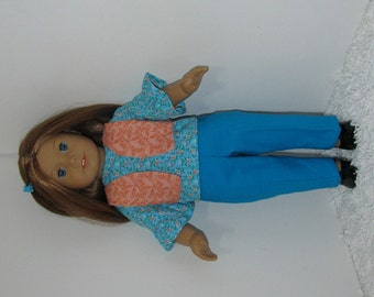 Turquoise Pants and Blouse Set, Fits 18 Inch American Girl Dolls