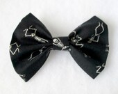 Dancing Skeleton Patterned Fabric Hair Bow