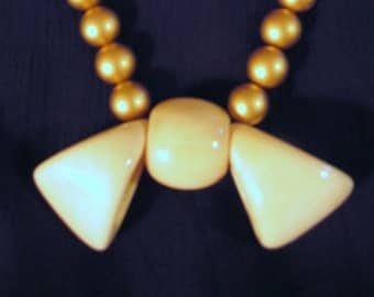 PARIS  BONE BOW and Faux Gold Wooden Beads Necklace Hand Carved