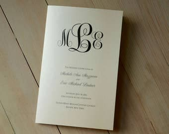 Classic Monogram Bifold Folded Wedding Programs - Digital File Only