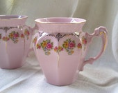 Vintage Pink Tea Cups by Leander Made in Czech Republic Set of Two Victorian Reproduction