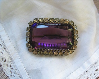 Victorian Amethyst Glass Brooch with Paste/Rhinestone Border Circa Early 1900's