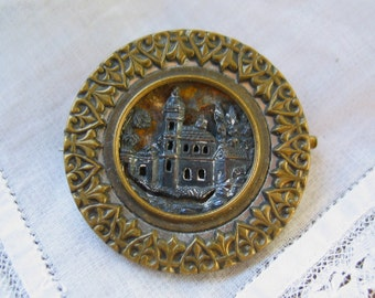 Antique Metal Button Brooch in Brass and Silvertone Metal Castle Motif