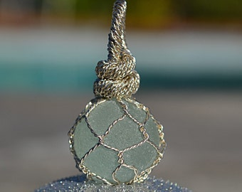 English Sea Glass Marble wrapped in Sterling Silver wire like a  Japanese Fishing Float Pendant/Necklace - Light Aqua