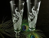 NEW! 2 Peacock Wedding Toasting Glasses, Engraved Glass Fluted Pilsner Flutes, Wedding Gifts for Couple