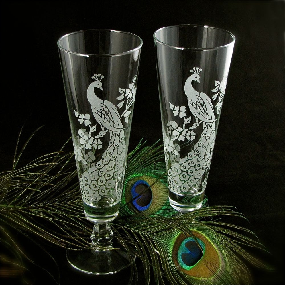 2 peacock wedding toasting glasses engraved glass fluted for Etched glass wedding gifts
